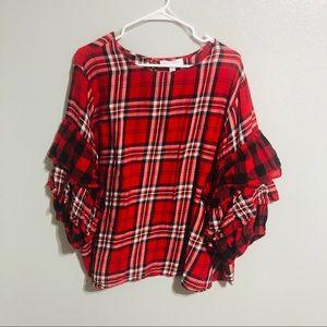Boutique plus plaid ruffle sleeve shirt size 3x